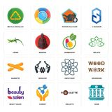 Set of bank, roulette, beauty salon, celtic knot, baguette, homeopathy, lizard, motorcycle shop, recycle reuse uce icons. Set Of 16 simple  icons such as bank Royalty Free Stock Photography