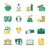Set of banking and currency exchange line icons Stock Photography