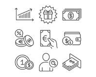 Banking, Finance and Chart icons. Surprise gift, Currency exchange and Usd coins signs. Set of Banking, Finance and Chart icons. Surprise gift, Currency royalty free illustration
