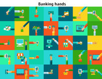 Set of banking hands Stock Images