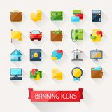 Set of banking icons in flat design style.  Royalty Free Stock Image