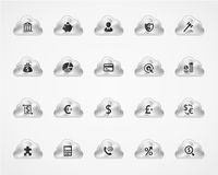 Set of banking icons on metallic clouds Stock Photo