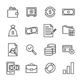 Set of banking thin line icons. High quality pictograms of money. Modern outline style icons collection Stock Photos
