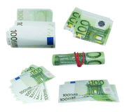 Set banknote 100 hundred euros isolation on  white background Royalty Free Stock Photo