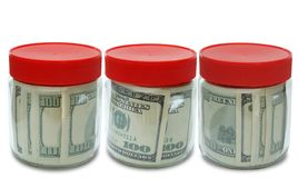 Set of banknote in jar Stock Photo