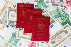 Set of banknote and passports Royalty Free Stock Photos