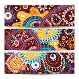 Set of banner Abstract  tribal ethnic background,color  vector Royalty Free Stock Images
