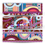 Set of banner Abstract  tribal ethnic background,color  vector Stock Photo