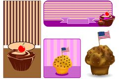 Set banner American sweets Stock Images