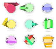 A set of banner arrows. Set of different colored arrows with circle Vector Illustration