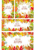 Set of banner of autumnal leaves. Set of Seasonal banner of autumnal leaves Stock Photo