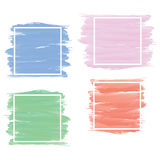 Set of banner in blue,pink,green,red brush paint style with whit Stock Photo
