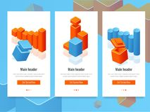 Set of banner with colorful bar chart and diagram, business analytics and information statistic isometric vector. Illustration Royalty Free Stock Photos