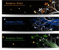 Set of banner design with floral elements Royalty Free Stock Image