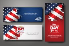 Set banner design template. Fourth of July Independence Day, Vector illustration stock illustration