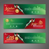 Set banner design template Happy Independence Day Jordan modern background with calligraphy arabic and silhouette city of Jordan royalty free illustration