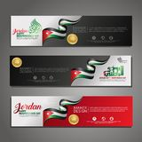 Set banner design template Happy Independence Day Jordan modern background with calligraphy arabic and silhouette city of Jordan. Set banner design template stock illustration