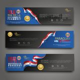 Set banner design template Happy Independence Day Paraguay modern background stock illustration