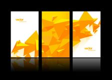 Set of 3 banner design templates with abstract polygonal objects. Vector art Stock Images
