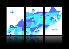 Set of 3 banner design templates with abstract polygonal objects Royalty Free Stock Photos