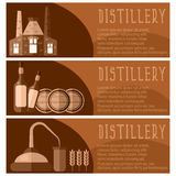 Set of banner for distillery industry  distillery objects. V Royalty Free Stock Photo