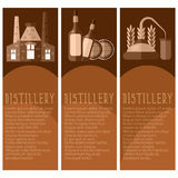 Set of banner for distillery industry  distillery objects. V Stock Image