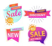 Set of 4 banner elements, sale and discount. Set of 4 banner elements, sale and discount tag collection, hot summer special offer. Modern website stickers Stock Images
