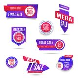 Set of banner elements, vector offer tag collection, discount label design, sale web coupons. Promotion badge icons, retail sign c Royalty Free Stock Photography