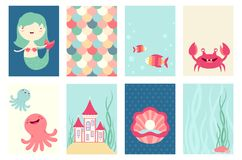 Set of banners with cute fairy-tale characters. Set of banner, flyer, placard with cute mermaid, fish, octopus, crab, castle. Poster set for scrapbooking. Vector Royalty Free Stock Images