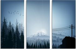 Set of banner forest trees silhouettes landscape. Illustration of Set of banner forest trees silhouettes landscape Royalty Free Stock Photography