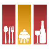 set banner frames with silhouettes cupcake and culinary elements Royalty Free Stock Image