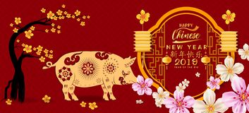 Set Banner Happy Chinese New Year 2019, Year Of The Pig. Lunar New Year. Chinese Characters Mean Happy New Year Stock Image