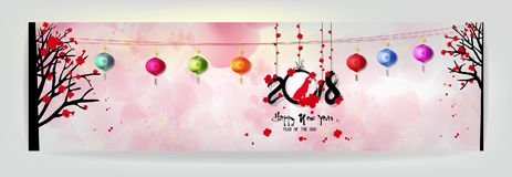 Set Banner Happy new year 2018 greeting card and chinese new year of the dog, Cherry blossom background Royalty Free Stock Photography