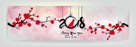 Set Banner Happy new year 2018 greeting card and chinese new year of the dog, Cherry blossom background vector illustration