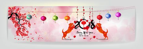 Set Banner Happy new year 2018 greeting card and chinese new year of the dog, Cherry blossom background stock illustration