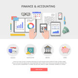 Set banner and icons finance and accounting. Set of flat design illustration concepts for business, finance, payment and banking, work space top view. Concepts Stock Image