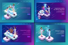 Set Banner Isometric Medical Treatment for Patient vector illustration