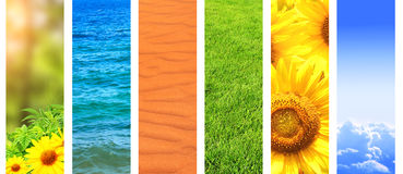 Set of banner with nature details. Collection of vertical banner with nature details - sunflower, sand, water, yellow flowers, sky, cloud, grass Stock Photography