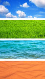 Set of banner with nature elements. Collection of banner with nature elements - water, ground, air and sand Stock Images