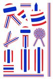 Set of Banner and Ribbon of Thai Flag Royalty Free Stock Images