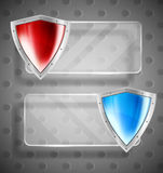Set of banner with shields Stock Images