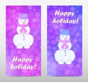 Set banner with snowmen. And snowflake. Vector illustration for new year and christmas design Royalty Free Stock Image