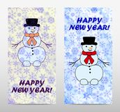 Set banner with snowmen. And snowflake. Vector illustration for new year and christmas design Royalty Free Stock Photo
