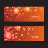 Set of 2 banner technology. Royalty Free Stock Photo