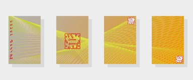 Set of banner templates with abstract outer space pattern in bright yellow neon colors. vector illustration