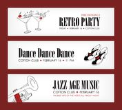Set of banner templates with cocktails, vintage shoes, trumpet and place for text. Vector illustration in black, red and Stock Image