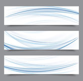 Set of banner templates. modern abstract design.Blue transparent smoke wave Stock Photography
