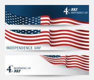 Set of banner to the US Independence Day. Stock Images