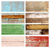 Set of banner with wood textures of different colors. Collection of banner with wood textures of red, yellow, green, light blue, white, brown colors Royalty Free Stock Images