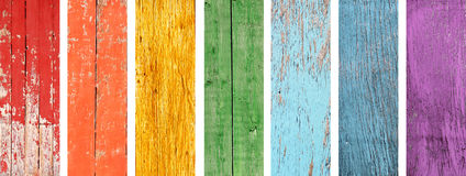 Set of banner with wood textures of rainbow colors. Collection of banner with wood textures of all colors of the rainbow spectrum - red, yellow, orange, green Royalty Free Stock Photography